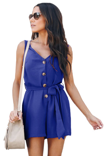 Blue Belted Button up Romper