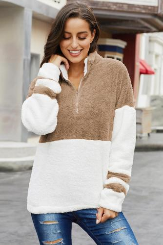 White Colorblock Furry Zipped Pullover Sweatshirt Outwear