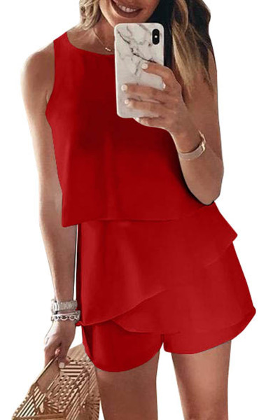 Red O Neck Ruffle Romper