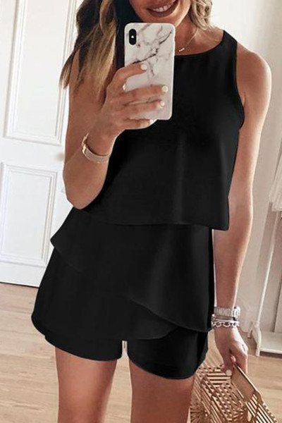 Black O Neck Ruffle Romper