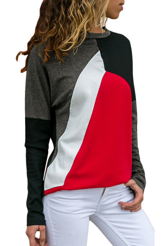 Red Color Block Round Collar Sweatshirt
