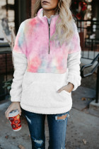 Pink Tie-dye Fluffy Fleece Pullover Sweatshirt