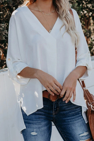 White V Neck 3/4 Sleeve High Low Hem Shirt
