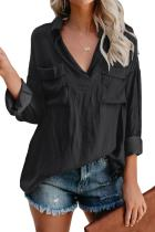 Black Satin Utility Blouse