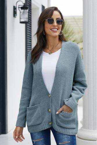 Sky Blue Oversize Button Front Cardigan