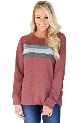 Red Contrast Stripes Pullover Sweatshirt