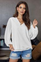 White Balloon Sleeve Textured Blouse