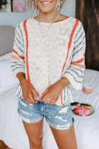 Wide Sleeve Striped Beach Sweater