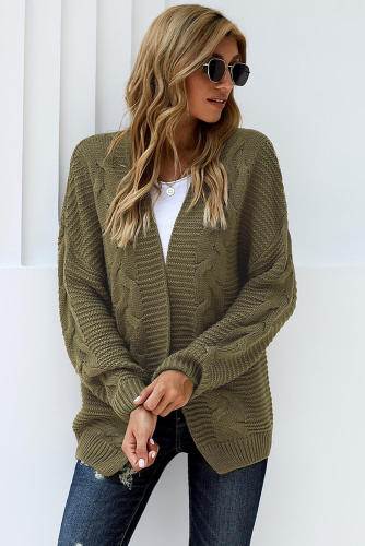 Olive Chunky Wide Long Sleeve Knit Cardigan