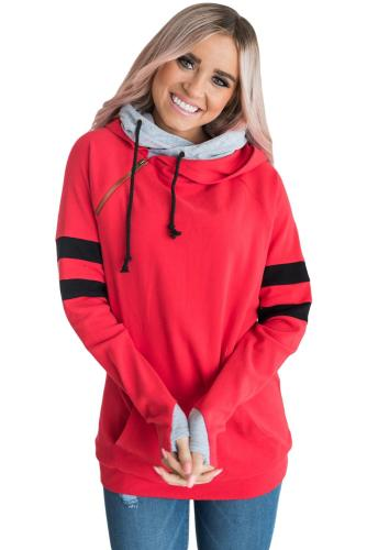 Red Varsity Striped Sleeves Double Hooded Sweatshirt