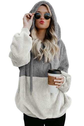 Gray White Colorblock Furry Hoodie