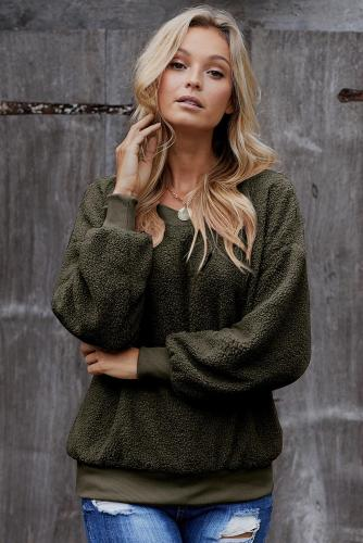 Green Terry Thread Cashmere Sweatshirt