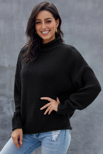 Black Oversized Chunky Batwing Long Sleeve Turtleneck Sweater