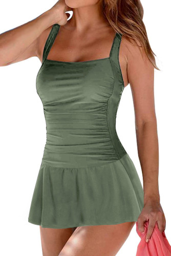 Green Padded Push up One Piece Swimdress