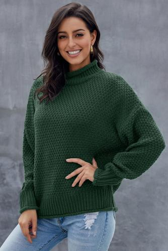 Green Oversized Chunky Batwing Long Sleeve Turtleneck Sweater
