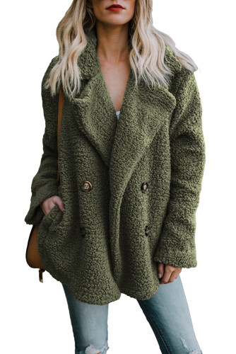 Army Green Fleece Open Front Coat with Pockets