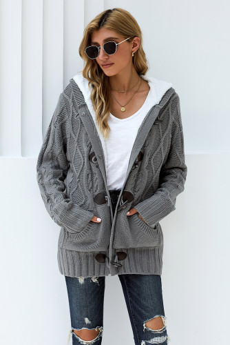 Gray Fur Hood Horn Button Sweater Cardigan