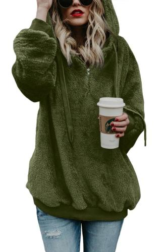 Green Warm Furry Pullover Hoodie