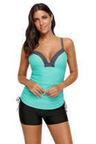 Green Ruched Ties Side Push Up Tankini Top