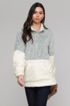 Grey White Zip Neck Oversize Fluffy Fleece Pullover