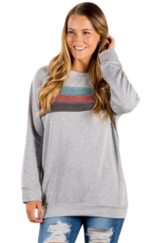 Light Gray Contrast Stripes Pullover Sweatshirt