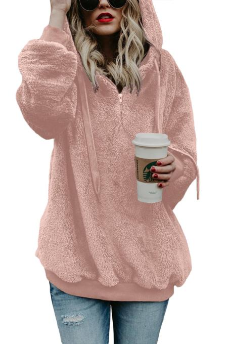 Pink Warm Furry Pullover Hoodie
