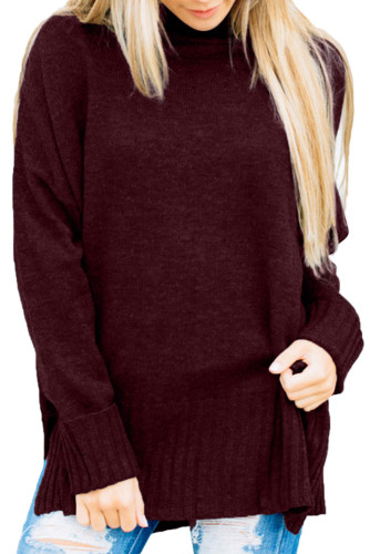 Burgundy Turn-up Sleeve Turtle Neck Sweater