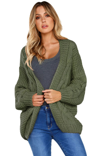 Green Chunky Wide Long Sleeve Knit Cardigan