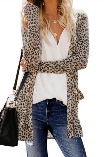 Leopard Print Button Down Cardigan