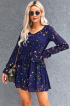 Blue Shimmer Ruffle V Neck Stars Print Long Sleeve Casual Short Dress