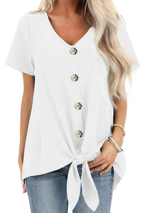 White Button Up Front Tie Detail Woven Top