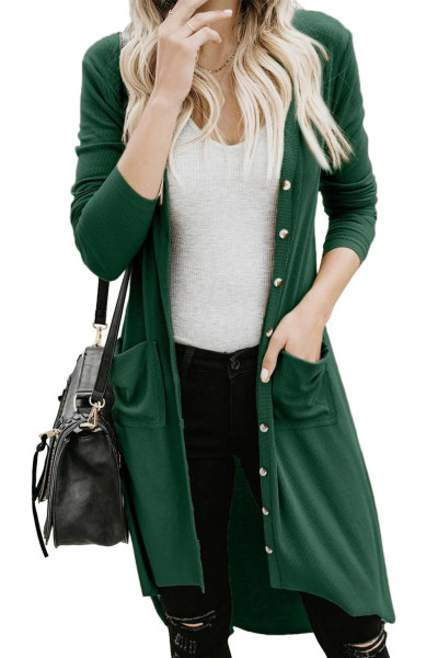 Green Selected Button Down Pocketed High Low Cardigan