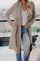 Beige Slouchy Pocketed Knit Longline Cardigan