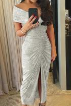 Gray Glitter Off Shoulder Ruched Slit Prom Dress