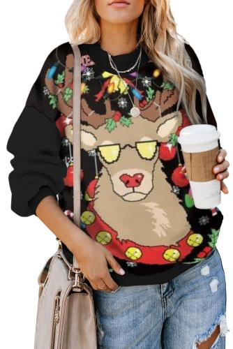 Black Merry Christmas Holiday Cartoon Print Sweatshirt