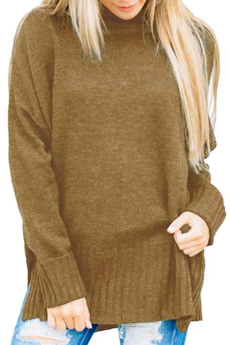 Cocoa Turn-up Sleeve Turtle Neck Sweater