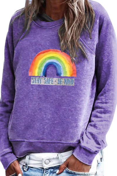 Purple Rainbow Print Pullover Sweatshirt