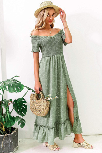 Green Polka Dot Off Shoulder Split Maxi Dress