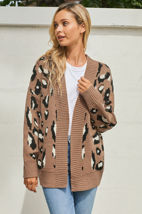 Brown Long Sleeves Leopard Print Knitting Cardigan