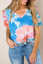 Blue Gradient Tie Dye V Neck T-shirt