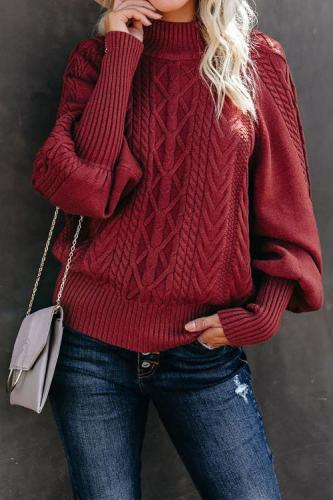 Red Housewarming Cable Knit Balloon Sleeve Sweater