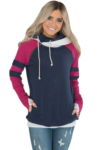 Navy Varsity Striped Sleeves Double Hooded Sweatshirt