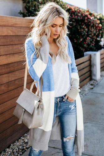 Sky Blue Love The One You're With Colorblock Cardigan