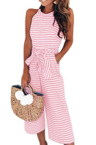 Pink Striped Sleeveless Waist Belted Wide Leg Loose Jumpsuit