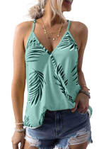 Green Tropical Plant Print Tank Top