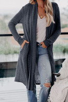 Blue Slouchy Pocketed Knit Longline Cardigan