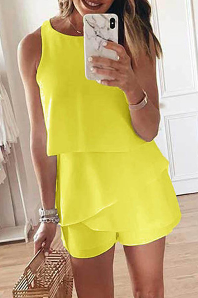 Yellow O Neck Ruffle Romper