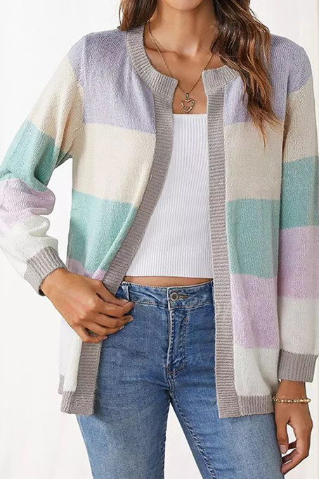 Purple Round Neckline Color Block Casual Loose Shift Sweaters