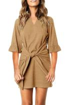 Khaki V Neck Ruffled Sleeves Waist Tie Mini Dress