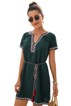 Green Summer Boho Embroidered V Neck Short Sleeve Casual Mini Dress